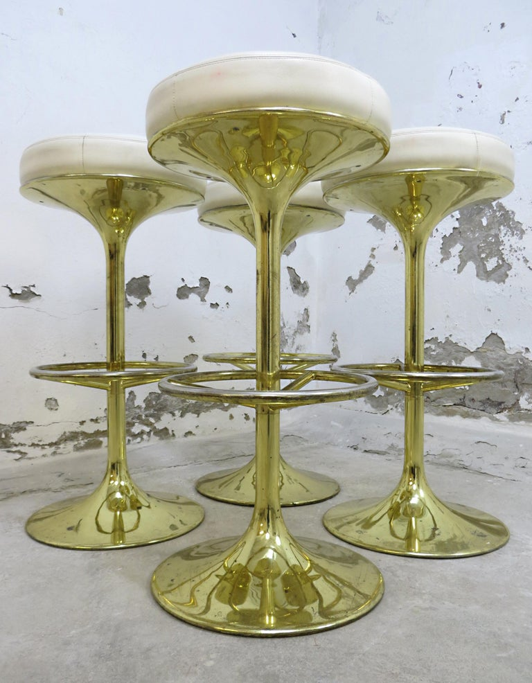 4 Börje Johansson Gilded Brass and Leather Bar Stools by Johansson Design, 1960s 5