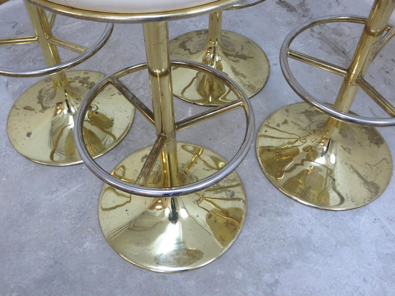 4 Börje Johansson Gilded Brass and Leather Bar Stools by Johansson Design, 1960s 7