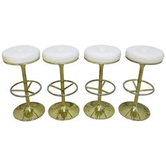 4 Börje Johansson Gilded Brass and Leather Bar Stools by Johansson Design, 1960s