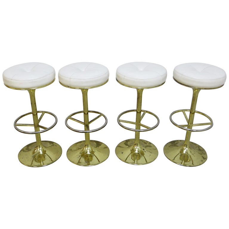 4 Börje Johansson Gilded Brass and Leather Bar Stools by Johansson Design, 1960s 1