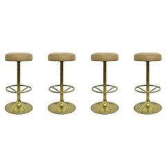 4 Börje Johansson Gilded Brass Bar Stools by Johansson Design, 1970s