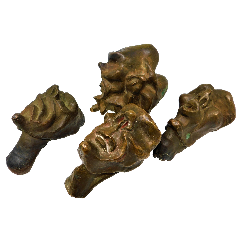 4 Bronze Brutalist Figurative Head Sculptures, Circa 1920