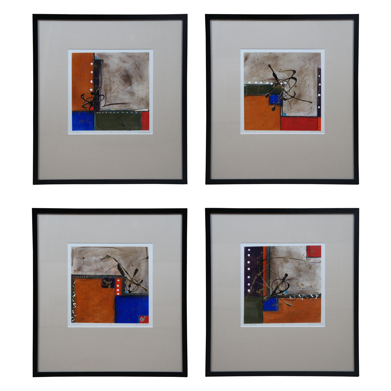 4 Cadillac Jones Signed Mixed Media Abstract Modern Contemporary Art Framed