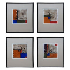 4 Cadillac Jones Signed Mixed Media Abstract Modern Contemporary Art Framed