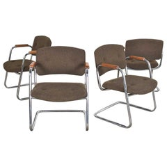 4 Cantilever Armchairs Chrome Brown w/ Wood Arms Style of Steelcase or Pollock