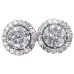 4 Carat 14 Karat Gold Diamond Studs with Diamond Jackets Total Weight 5.10 Carat