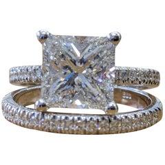 4 Carat 14 Karat White Gold Princess Diamond Engagement Ring, Hidden Halo Ring