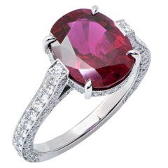 4.72 Carat AGL Graded No Heat Oval Ruby and Diamond Platinum Ring