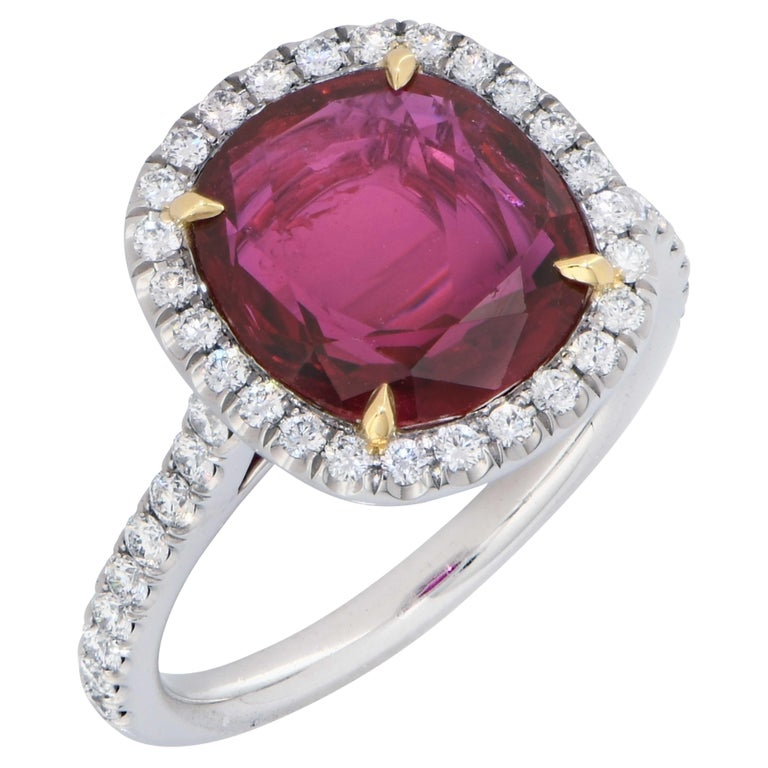 Modern 4 Carat AGL Graded Ruby and Diamond Platinum Ring For Sale
