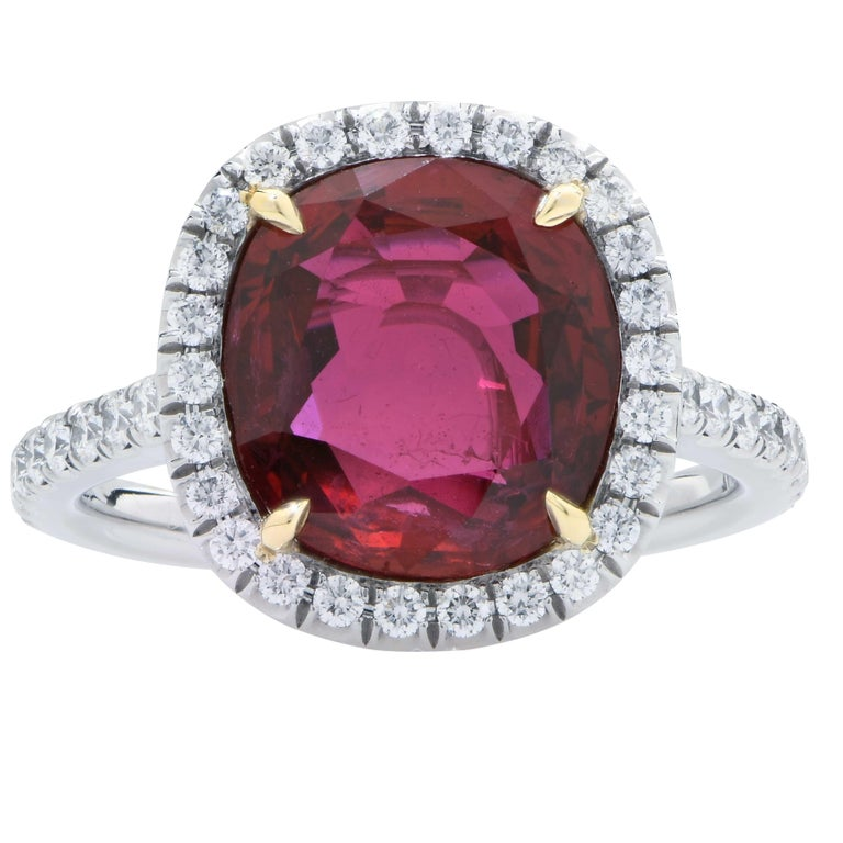 Cushion Cut 4 Carat AGL Graded Ruby and Diamond Platinum Ring For Sale