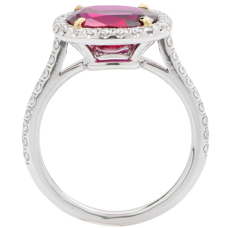 Women's or Men's 4 Carat AGL Graded Ruby and Diamond Platinum Ring For Sale