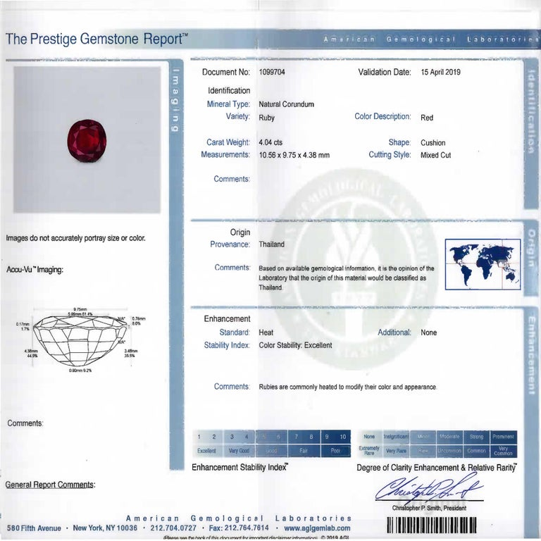 4 Carat AGL Graded Ruby and Diamond Platinum Ring For Sale 1