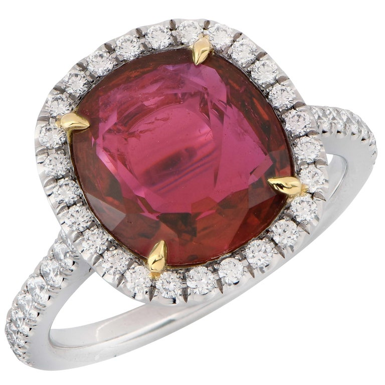 4 Carat AGL Graded Ruby and Diamond Platinum Ring For Sale