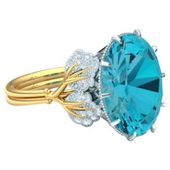 4 Carat Apatite and Diamond Yellow and White Gold Ring