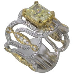 4 Carat Approximate Fancy Yellow Radiant and Diamond Ring-Ben Dannie