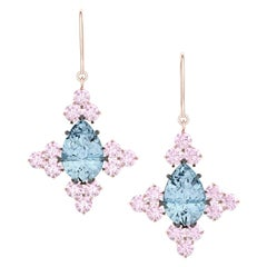 4 Carat Aquamarine and Pink Sapphire Rose Gold Silver Drop Dangle Earrings