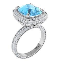 4 Carat Aquamarine Diamond Ring 14 Karat White Gold Art Deco Style