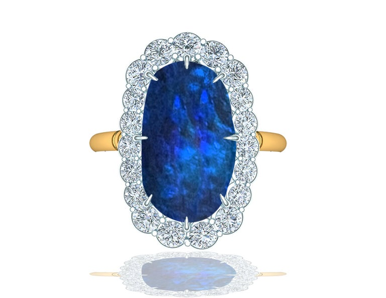 Modern 4 Carat Black Opal and Diamond Ring For Sale