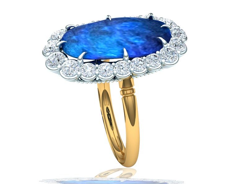 Women's or Men's 4 Carat Black Opal and Diamond Ring For Sale