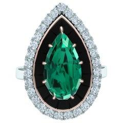 4 Carat Blue Green Tourmaline Onyx and Diamond Ring