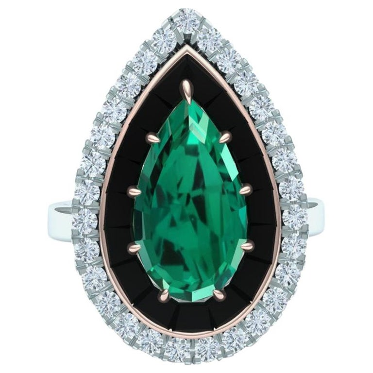 4 Carat Blue Green Tourmaline Onyx and Diamond Ring  For Sale