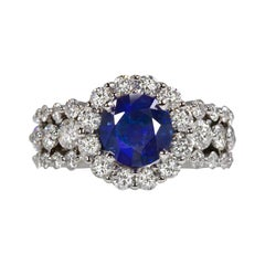 4 Carat Blue Sapphire Diamond 18 Carat White Gold Ring