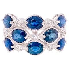 4 Carat Blue Sapphire & Diamond Fashion Ring 14 Karat Gold 3.75ct Cocktail Ring