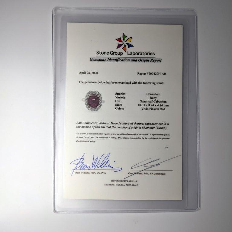 4 Carat Burma Ruby Ring Certified No-Heat For Sale 1