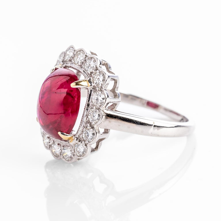 Contemporary 4 Carat Burma Ruby Ring Certified No-Heat For Sale