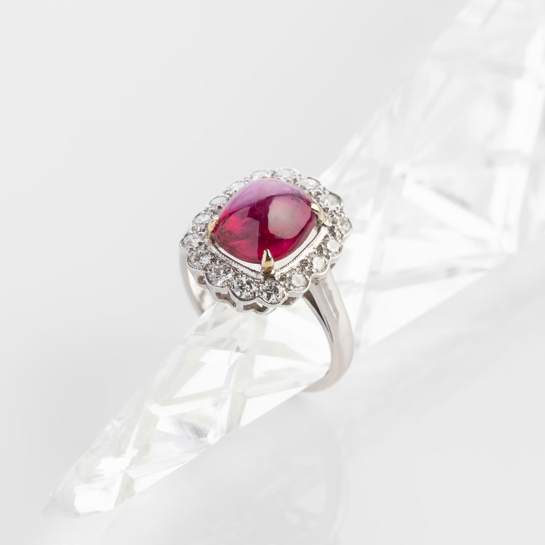 Sugarloaf Cabochon 4 Carat Burma Ruby Ring Certified No-Heat For Sale