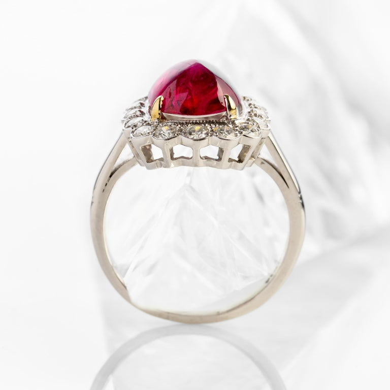 4 Carat Burma Ruby Ring Certified No-Heat In Excellent Condition For Sale In Southbury, CT