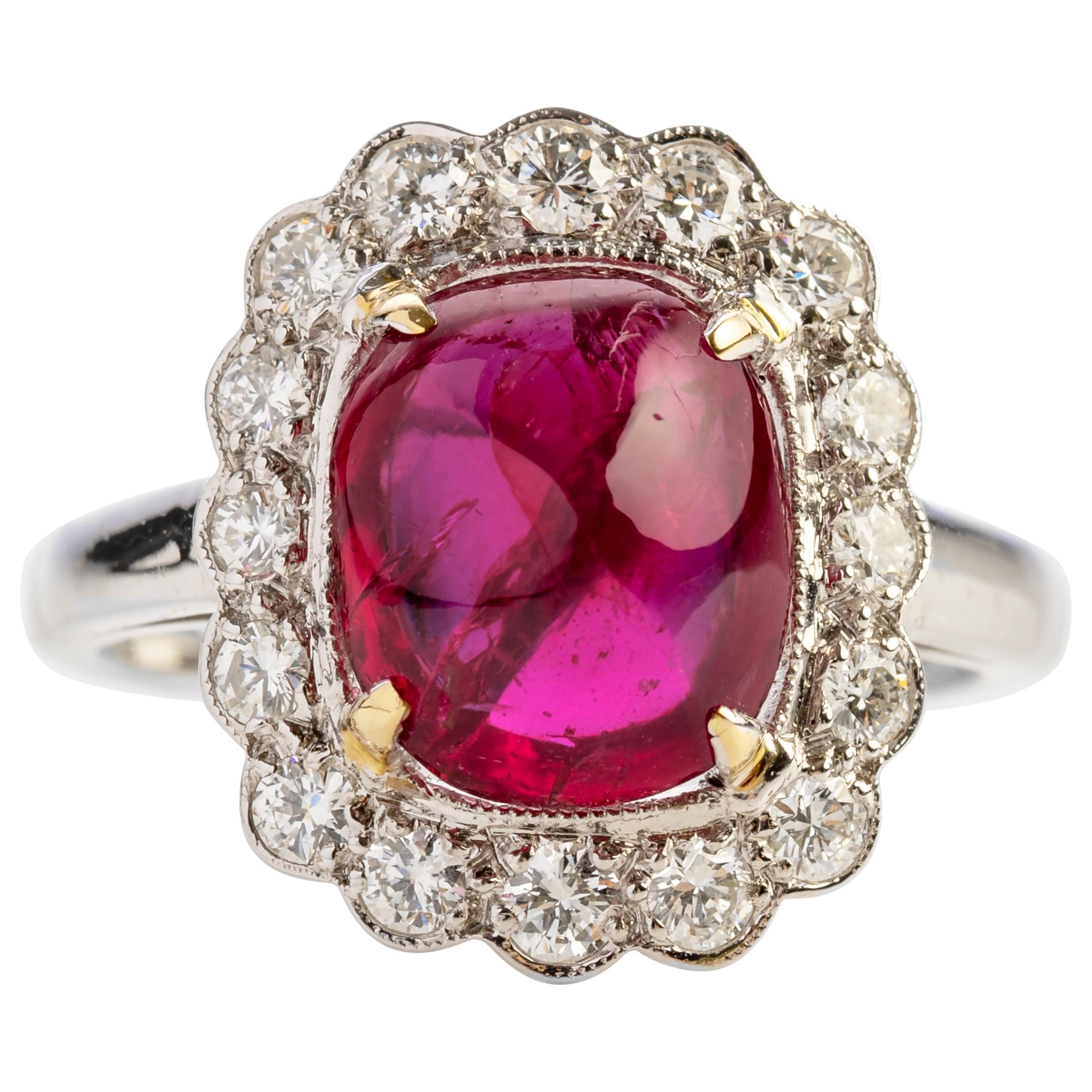 4 Carat Burma Ruby Ring Certified No-Heat