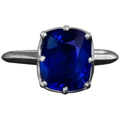 4-Carat Certified No-Heat Sapphire Engagement Ring in Platinum