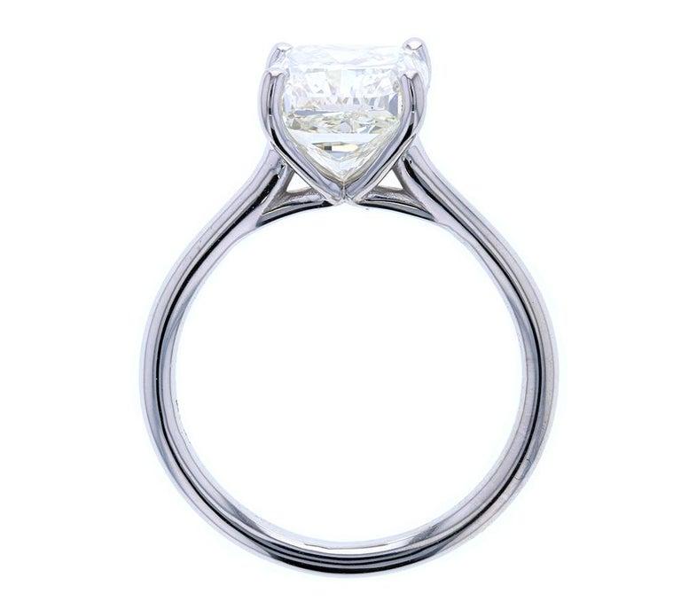 Modern 4 Carat Cushion Cut Diamond Solitaire Engagement Ring, Platinum Setting For Sale