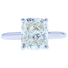 4 Carat Cushion Cut Diamond Solitaire Engagement Ring, Platinum Setting