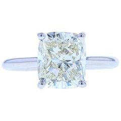 4 Carat Cushion Cut Diamond Solitaire Engagement Ring, Platinum Setting