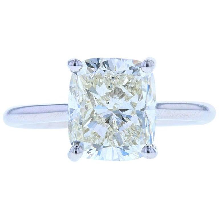 4 Carat Cushion Cut Diamond Solitaire Engagement Ring, Platinum Setting For Sale