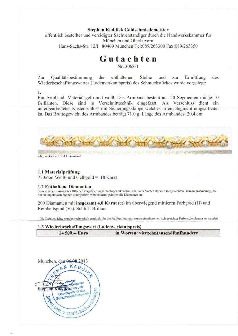 4 Carat Diamond 18 Karat Yellow Gold Fancy Link Bracelet For Sale 3