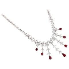 4 Carat Diamond and 3 Carat Ruby Drop Necklace, 18 Karat Gold