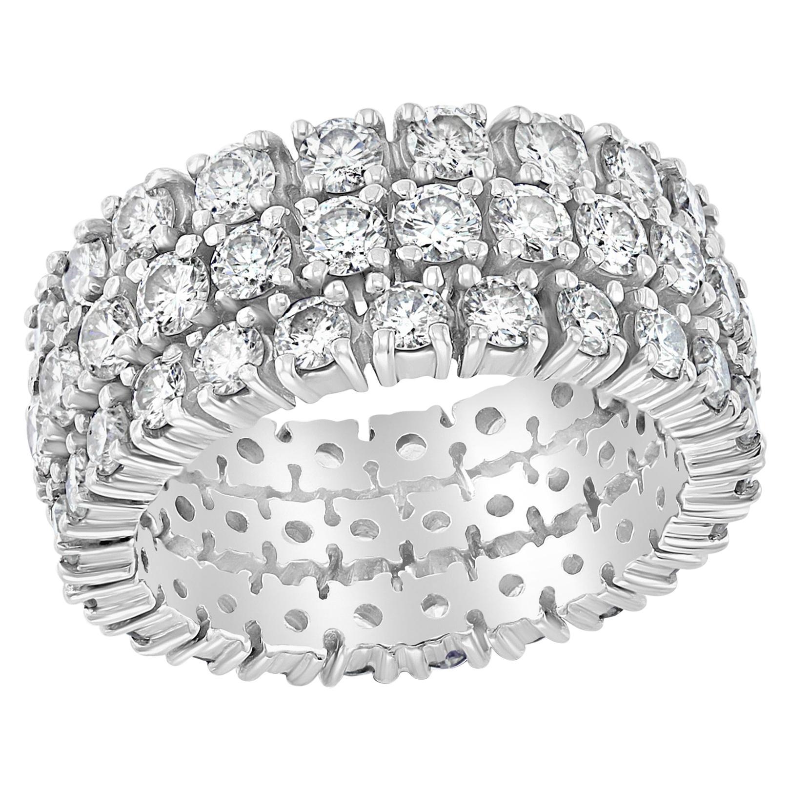 4 Carat Diamond Eternity Engagement Band 14 Karat White Gold 3-Row Band