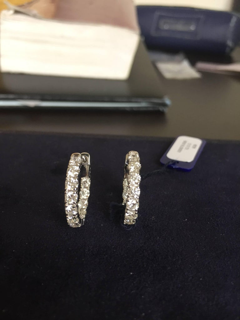 Modern 4 Carat Diamond Hoops Earrings For Sale