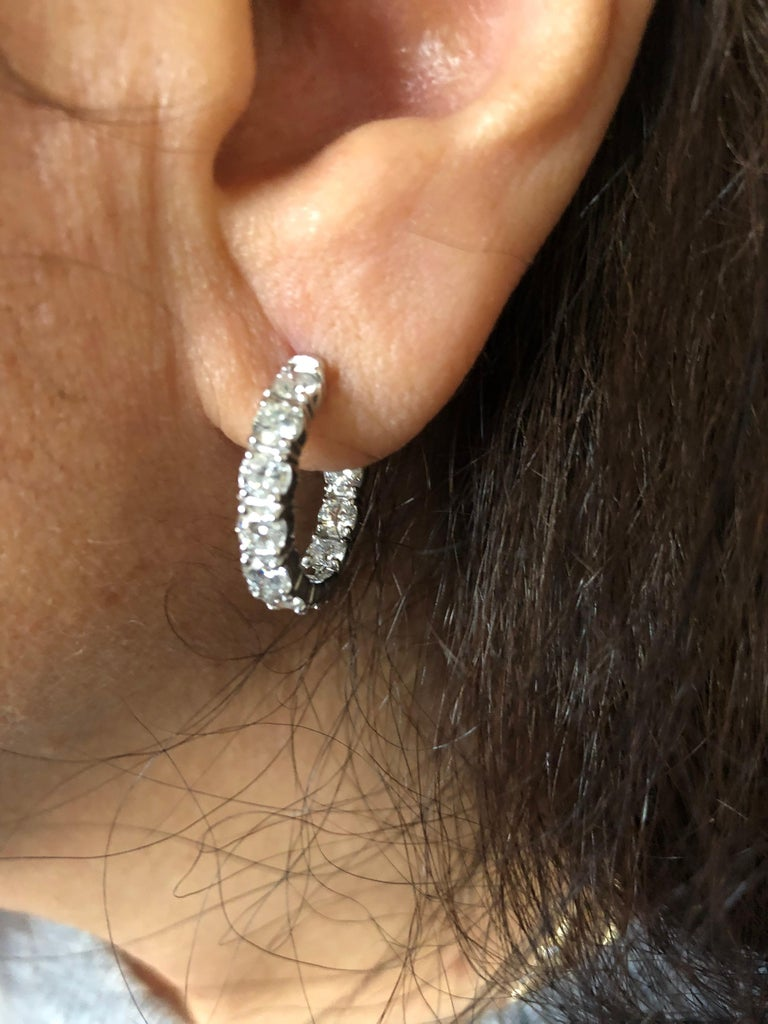Round Cut 4 Carat Diamond Hoops Earrings For Sale