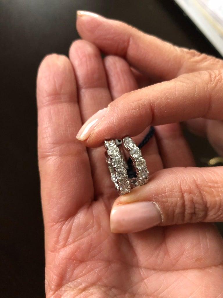 Women's 4 Carat Diamond Hoops Earrings For Sale