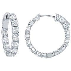 4 Carat Diamond Hoops Earrings