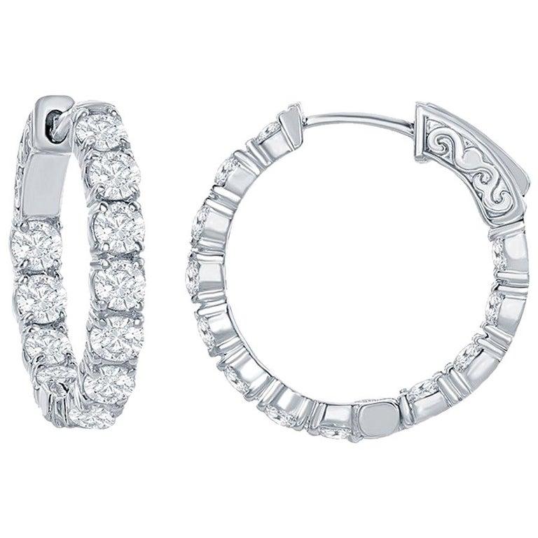 4 Carat Diamond Hoops Earrings For Sale