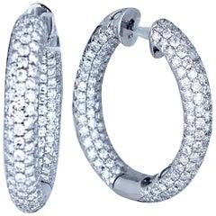 4 Carat Diamond Pave' Hoops