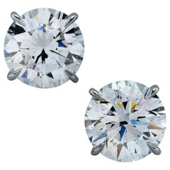 4 Carat Diamond Studs Excellent Cut 18 Carat White Gold