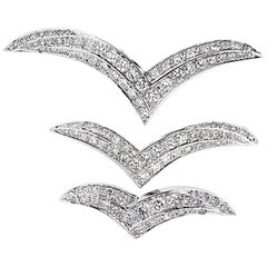 4 Carat Diamond Wing Brooch Pin Set