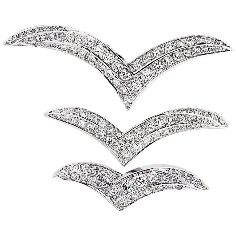 4 Carat Diamond Wing Brooch Pin Set For Sale