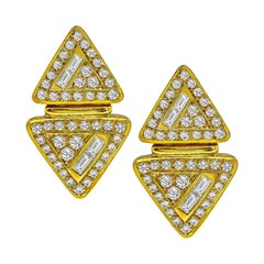 4 Carat Diamond Yellow Gold Earrings